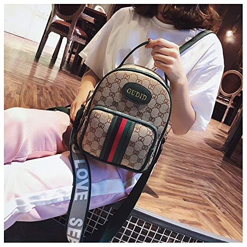Ldyia Rucksack Frau Leinwand geschlungen Frau Tasche Druck Umhängetasche Mini Rucksack kleine Tasche, grün -