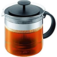 Bodum BISTRO NOUVEAU Tea Press (Plastic Infuser, Stainless Steel Band, 1. 5 L/51 oz) - Black