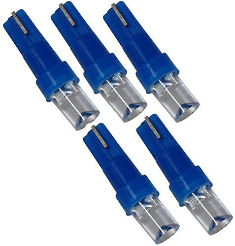 AERZETIX: Lot d'ampoules pour éclairage instruments de tableau de bord. T5 12V 1 LED. Couleurs variées (Bleu, 5 pièces)