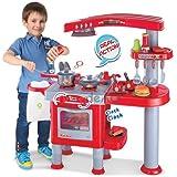 Cocina de juguete para niños - Juego de imitación con más de 30 accesorios - Rojo - Grande