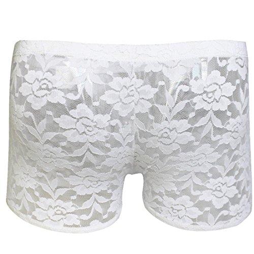 CHICTRY Transparent Herren Boxershort Boxer Briefs Short Trunk Pant Spitze Unterhose M L XL Weiß