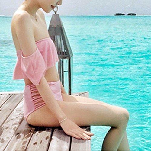 Vandot costume donne da bagno Sexy off shoulder Bikini Estate Due Pezzo Push Up a vita alta swimsuit Protezione UV beachwear Fasciatura delle donna Ragazza swimwear Rosa