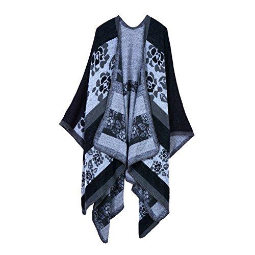 LATH.PIN Femme Ponche Cape Châle Couverture Foulard Chaud Tricoté pour Automne Hiver HD-Gris