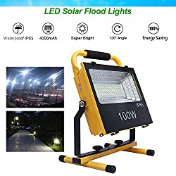 100W LED Flood Light Outdoor Handheld Portable Solar Light Stand up Work Light with Built-in 4000mAh Lithium-ion Battery Rechargeable for Job Site Lightning