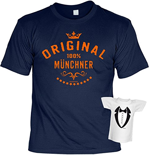 Bayern T-Shirt Original 100% Münchner Oktoberfest Wiesn Shirt bedruckt Geschenk Set mit Mini Flaschenshirt Navyblau