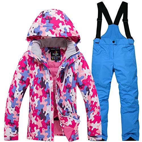 LPATTERN 2 Piezas Traje de Esquí para Niños Niñas Chaqueta de Nieve con Capucha + Pantalones con Tirantes Impermeables, Rosa roja+Azul, 5-6 años/S
