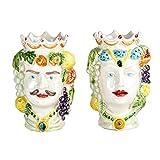 Teste di moro in ceramica, coppia teste di moro di Caltagirone fatte a...