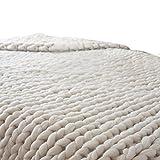 HLHN Coperta per divano lavorata a maglia, a maglie spesse, decorazione per la casa 80x 100cm Beige