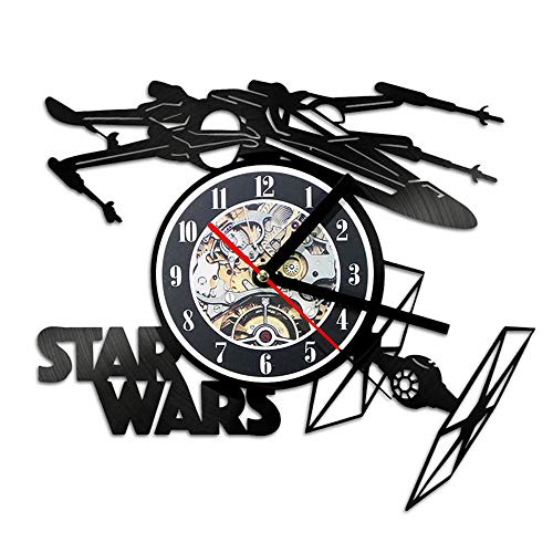 llsmting Wanduhren,Uhren,Wecker Star Wars Modernes Design Flugzeug Thema Retro-Stil Vinyl Record Watch 3D Ative Hängen Kann Gut Dekorieren Home Office Kaffee Bar Hotel (Wars Star Bar-thema)