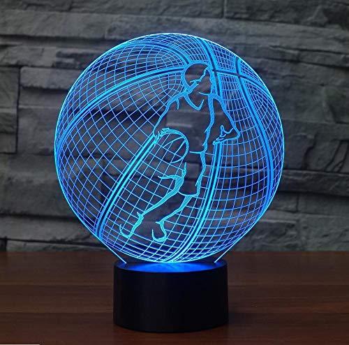 Modelado De Baloncesto En 3D Luz Nocturna 7 De Colores Creativo Llevó La Lámpara De Mesa Usb Niño Dormitorio Sueño Lámpara Accesorios Para Niños Fanáticos Deportivos Regalo