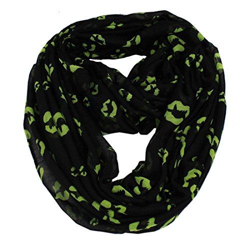 Femme à lèvres Kiss Imprimé Viscose Infinity Boucle Fiesta voile confortable Cercle écharpe foulard châle Noir - Noir