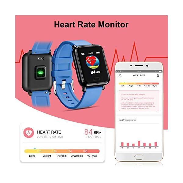 Tipmant Reloj Inteligente Mujer Hombre Smartwatch Pulsera de Actividad Inteligente Impermeable IP68 Pulsómetros… 4