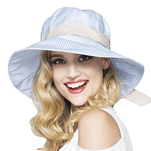 YSXY Sonnenhut für Damen Mädchen Fischerhut Sonnenschutz Strandhut Anti-UV Streifen Hüte Hut Kappe aus Baumwolle,Blau
