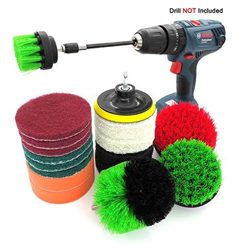 Pennello da trapano + spazzole, kit di pulizia for spazzole da 18 pezzi, con attacco lungo for la pulizia di piastrelle for piscine, auto, ceramica, sedili / tappetino, boiacca, lavelli, vasca da bagn