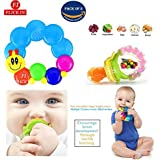 Flick In Baby Silicone BPA Free Mesh Food Nibbler Rattle Teether Plus Water-Filled Caterpillar Shape Baby Teether Teething Rattle Toys | | 6 To 12 Months (Multicolour) | (Teether_Nibbler) Set Of 2
