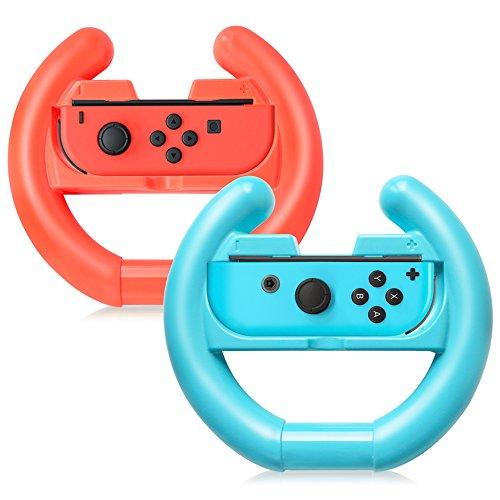 Joy-Con Rad für Nintendo Schalter Controller [2er Pack], TJS Lenkrad Zubehör Befestigung Grip, für Verwendung mit Nintendo Schalter Joy-Con Controller (Blau und Rot), Blau/Rot (Att Hinweis)
