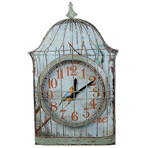 Vogelkäfig dekorative Eisen Wand Uhr Gartendekorationen Eisen Handwerk US-amerikanischer Country House Suite home , 1 (Dekorative Vogelkäfige)