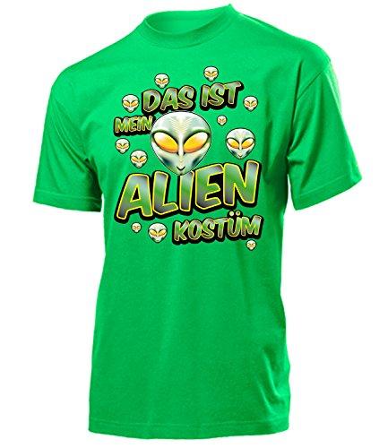 Alien Kostüm Herren T-Shirt UFO Horror Männer 1802 Karneval Fasching Faschingskostüm Karnevalskostüm Paarkostüm Gruppenkostüm Grün XXL