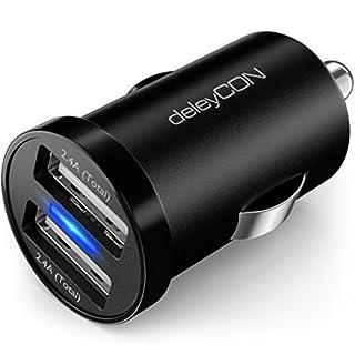 deleyCON DUAL 2,4A KFZ USB Ladegerät USB Ladeadapter - 2X USB Port - 2,4A 12W - Überspannungsschutz Überladungsschutz - 12V KFZ Auto-Ladegerät - Schwarz