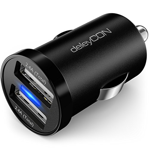 deleyCON DUAL 2,4A KFZ USB Ladegerät USB Ladeadapter - 2X USB Port - 2,4A 12W - Überspannungsschutz Überladungsschutz - 12V KFZ Auto-Ladegerät - Schwarz Micro-usb-dual-ladegerät