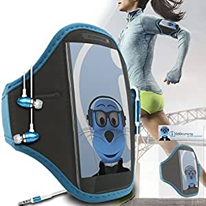 Sky Blue Black Adjustable Sports GYM Jogging Running ArmBand Case Cover with 3.5mm Aluminium Headphones For Xiaomi MI-2S