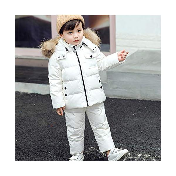 SXSHUN Bebés Traje de Nieve Chaqueta con Capucha de Pelo + Peto de Plumas Conjunto Caliente para Invierno 2