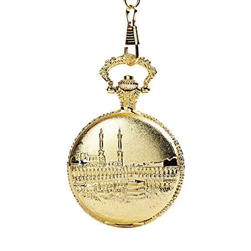 Fengteng Klassische Gold Farbe Groß Muslim Mosque Schön Geprägte Quarzuhr Anhänger, Islam Gott Allah Schloss Taschenuhr Halsschmuck, Damen und Herren Uhr Geschenk