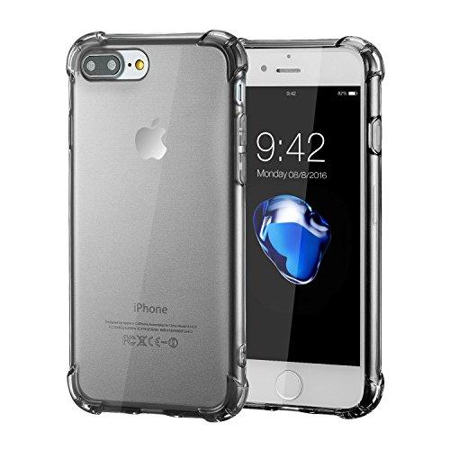 iPhone 8 Plus Silikon Hülle,iPhone 7 Plus hülle,Apple iPhone 8 plus Silikon Abdeckung Stoß- Dünn Glanz Gel Stoßstange Flexibel und Weich Apple iPhone 7 plus &iPhone 8 plus 5,5 TPU Durchsichtig Schwarz shockproof