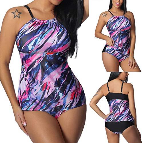 Junjie Damen Frauen Plus Size Print Tankini Badeanzug Badeanzug Beachwear Swimsuit Jumpsuit Gepolsterte Badebekleidung Lila