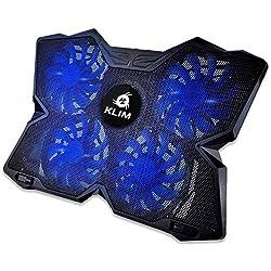 KLIMTM Wind - Refroidisseur Ordinateur Portable + Le Plus Puissant + Refroidissement Ultra Rapide + 4 Ventilateurs Silencieux + Refroidisseur PC Portable PS4 Xbox - Version 2020 - Bleu