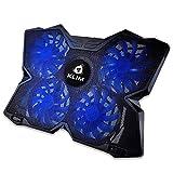KLIMTM Wind - Base di Raffreddamento PC Portatile + Il più Potente Supporto PC Portatile + Azione Rapida 1200 RPM + Gaming Laptop Stand + Blu + Nuova Versione 2020