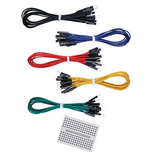 Elegoo Jumper Wire Kabel Male Female 200mm 50er Set und Ein Gratis 170 Kontakte Breadboard -