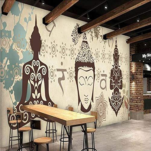 Dalxsh 5DWandbilder Thailand Yoga 3D FototapetenTapeten Asiatische 3D Tapeten Wandbilder Für Statuen Gym Dance Große Wandbilder-280X200Cm