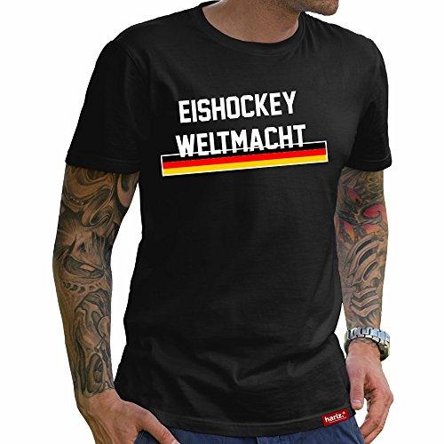 HARIZ  Eishockey Weltmacht Deutschland//Original T-Shirt - Schwarz, XS-4XXL//Germany | Pyeongchang | Trikot | Medaille | Icehockey #Eishockey Deutschland Collection Black XS