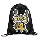 Owl Eating Pizza Print Drawstring Backpack Rucksack Shoulder Bags Gym Bag Sport Bag