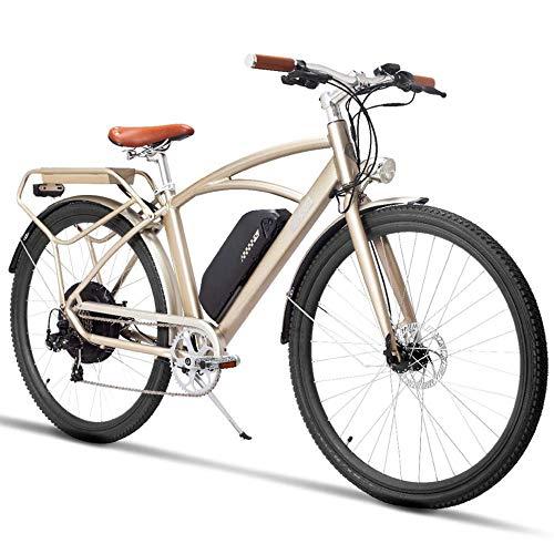 MZZK 700C Bicicletta a pedalata assistita Mountain Bike, Bicicletta City Retro, Potente Motore Brushless da 750 W, Batteria al Litio da 48V 13Ah(Champagne Gold, 48V 13Ah)