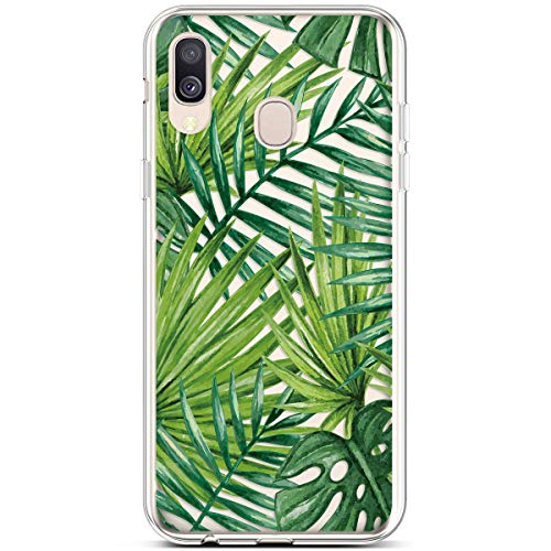 Qjuegad Case for Galaxy A40 Shockproof Transparent Soft Flexible Durable Gel Silicone TPU Bumper Slim Fit Scratch Resistant Shock Absorption Protective Cover for Samsung Galaxy A40, Banana Leaf #2