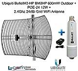 #5: Ubiquiti BulletM2-HP BM2HP 600mW Outdoor POE-24 12W 2.4GHz 24dB Grid Antenna