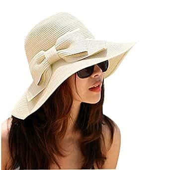 La Haute - Cappello da sole di paglia, da donna, pieghevole, ampia tesa morbida, da spiaggia/estate, con fiocco, donna, Beige, Taglia unica