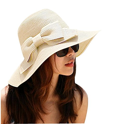 Lucky è tesa larga, con fiocchetto, Cappello da sole estivo in paglia Beach-Cappello con visiera da donna beige