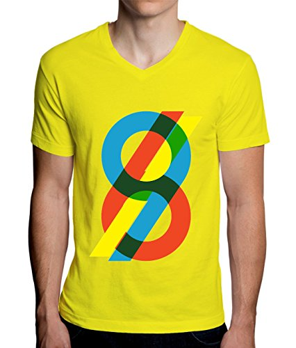 sixty Nine 69 Graphic Red Yellow Blue Men's V-Neck T-Shirt Small - Dps-t-shirt