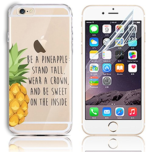 iPhone 6 Case,iPhone 6S 4.7 Inch Silicone Gel Case with Free Screen Protector, Sunroyal Clear Shock Proof Soft Durable Scratch Resistant Rubber Soft TPU Transparent Protective Case Cover Skin Shell for iPhone 6 6S with Beautiful Colourful Pattern Design -