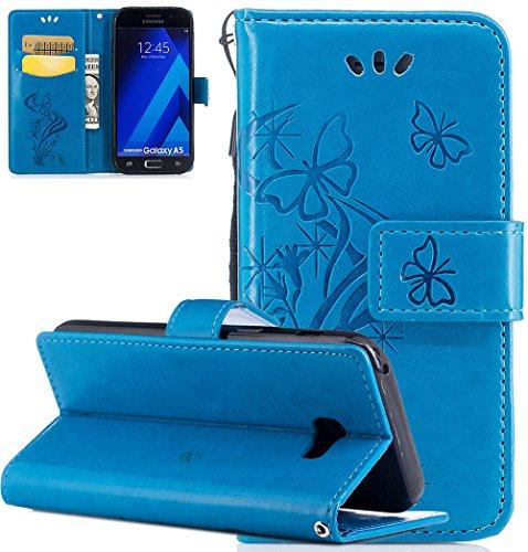 Samsung Galaxy A5 Hülle,Nnopbeclik Premium PU Leder Wallet Case mit [Kickstand] Kartenhalter und ID Slot Schutzhülle Bumper Schale Silicone für Samsung Galaxy A5 2017 5.2 Zoll