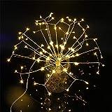 Firework - Luci a LED, 120 fili, dimmerabili, 8 modalità, con telecomando, illuminazione natalizia, per interni ed esterni, decorazione per feste, Yellow, size_name