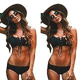 Bikini Teilen Bademode Damen DAY.LIN Sexy Frauen Verband Push-up Bikini Set gepolsterter BH Badeanzug Bademode Beachwear (EU34/S)