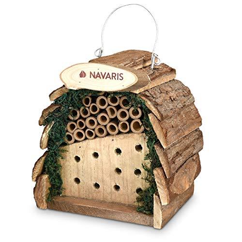 Navaris Insektenhotel aus Holz klein - Bienenhotel naturbelassenes Insekten Hotel für Bienen Wespen und andere Fluginsekten - Nisten und Verstecken