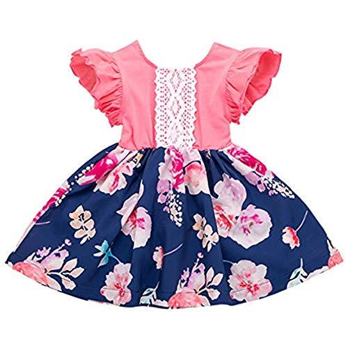 squarex Sommerkleinkindbaby-Fliegen-Hülsen-Kleid-Rüschen-Blumenrock-Druck-Kleid-Spitze-Kleid-Kleidung-beiläufiges Kleid bequem -