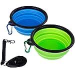 Faburo 2 Set Collapsible Travel Silicone Dog Bowl Portable Pet Food Water Bowl with A Dog Training Clicker 51xpoLCsjFL
