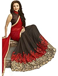 Tiana Creation Red and Brown georgette saree with blouse piece