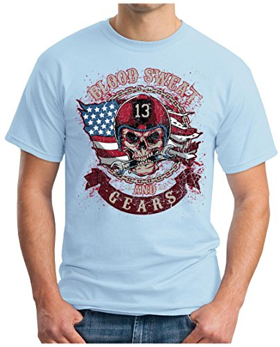 OM3 - BLOOD-SWEAT-AND-GEARS - T-Shirt MOTORCYCLE HIPSTER SKULL CLUB Himmelblau